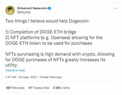 The co-founder of Dogecoin, explains the importance of a DOGE - Ethereum (ETH) bridge to allow the purchase of NFT with the DOGE and thus increase its utility.